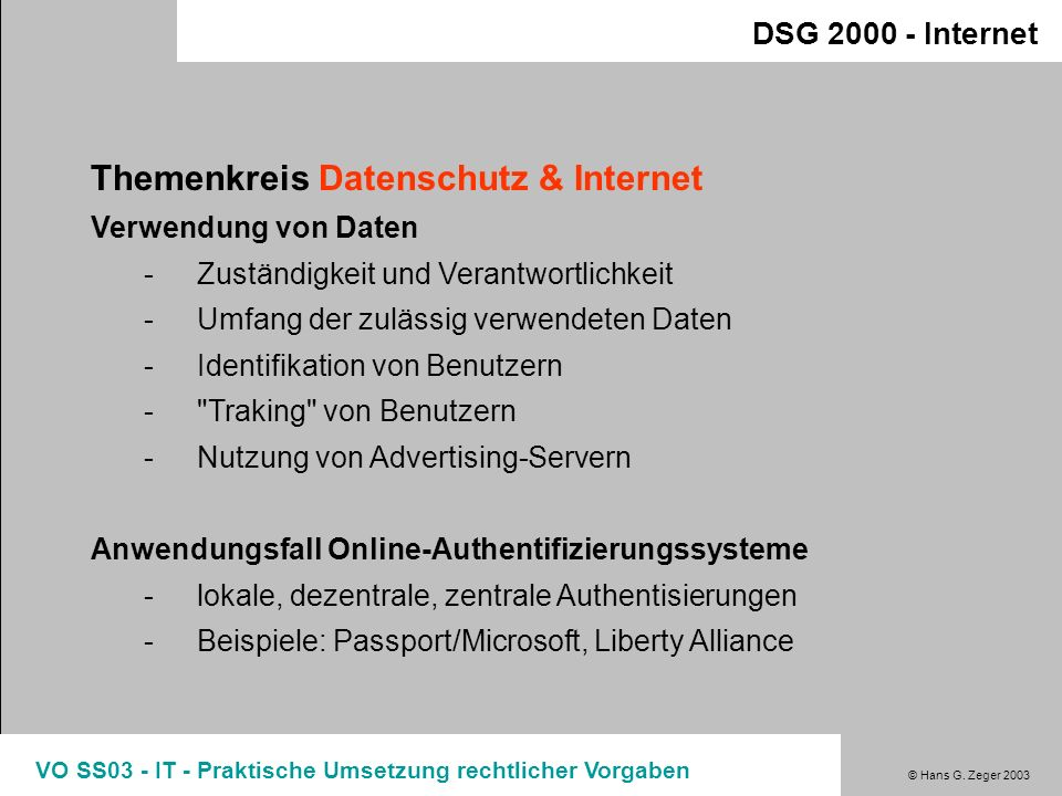 Themenkreis Datenschutz & Internet