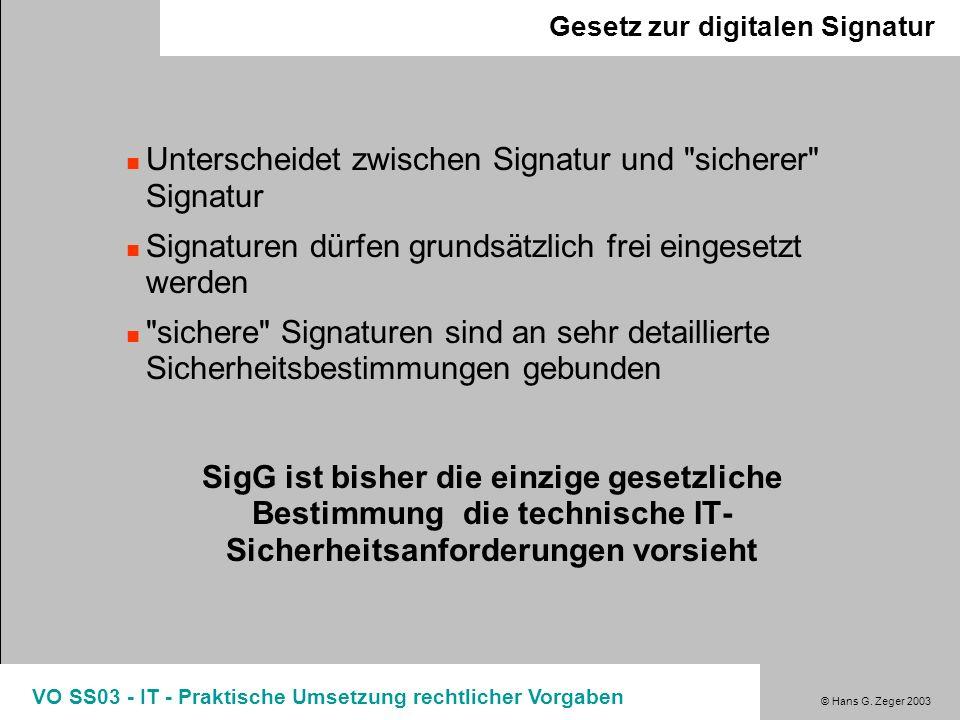 Unterscheidet zwischen Signatur und sicherer Signatur