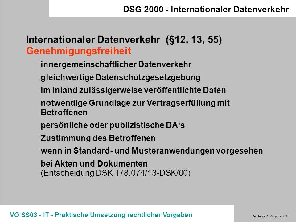 Internationaler Datenverkehr (§12, 13, 55) Genehmigungsfreiheit