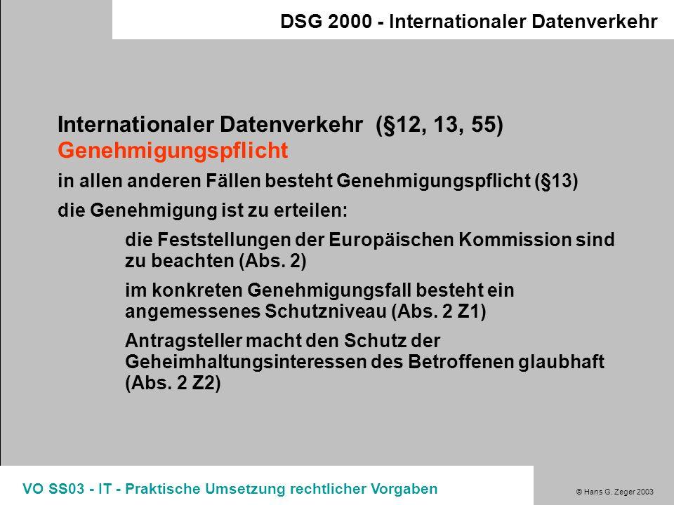 Internationaler Datenverkehr (§12, 13, 55) Genehmigungspflicht