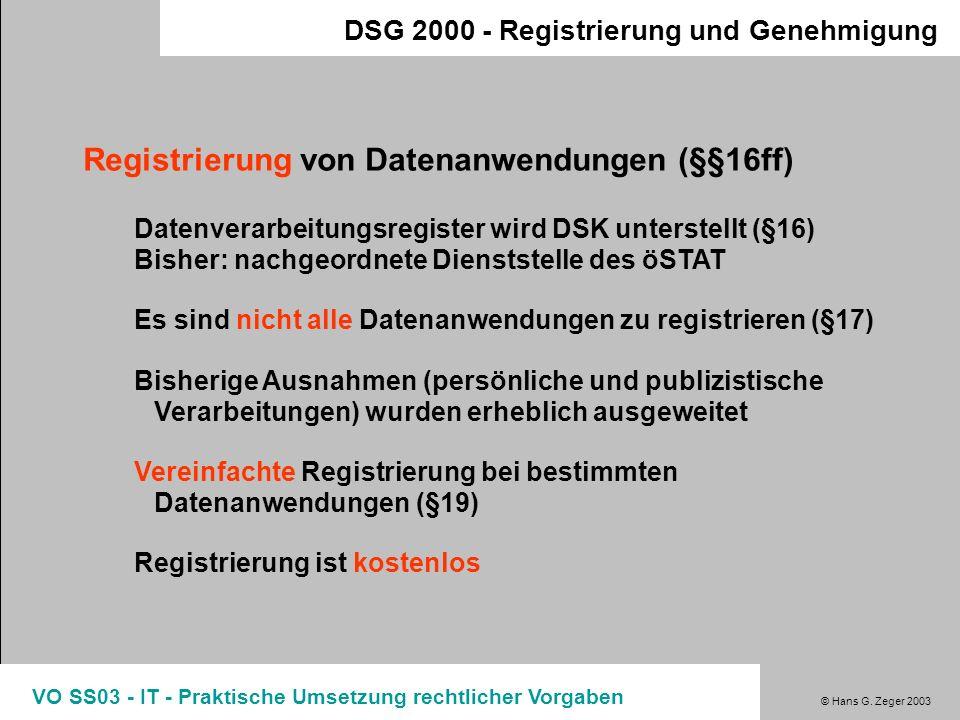 Registrierung von Datenanwendungen (§§16ff)