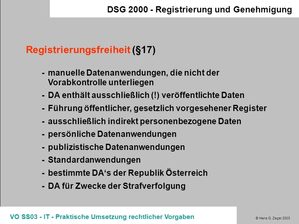 Registrierungsfreiheit (§17)