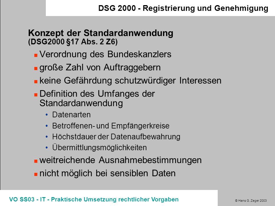 Konzept der Standardanwendung (DSG2000 §17 Abs. 2 Z6)