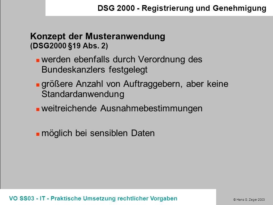 Konzept der Musteranwendung (DSG2000 §19 Abs. 2)