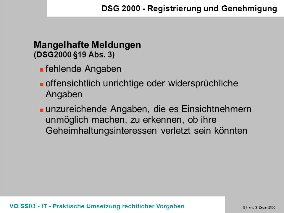Mangelhafte Meldungen (DSG2000 §19 Abs. 3) fehlende Angaben