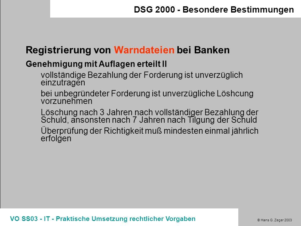 Registrierung von Warndateien bei Banken