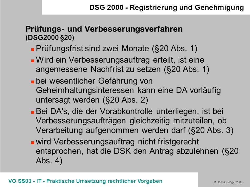 Prüfungs- und Verbesserungsverfahren (DSG2000 §20)