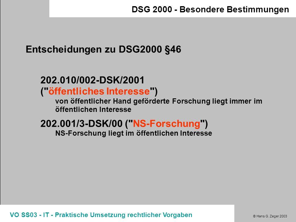 Entscheidungen zu DSG2000 §46