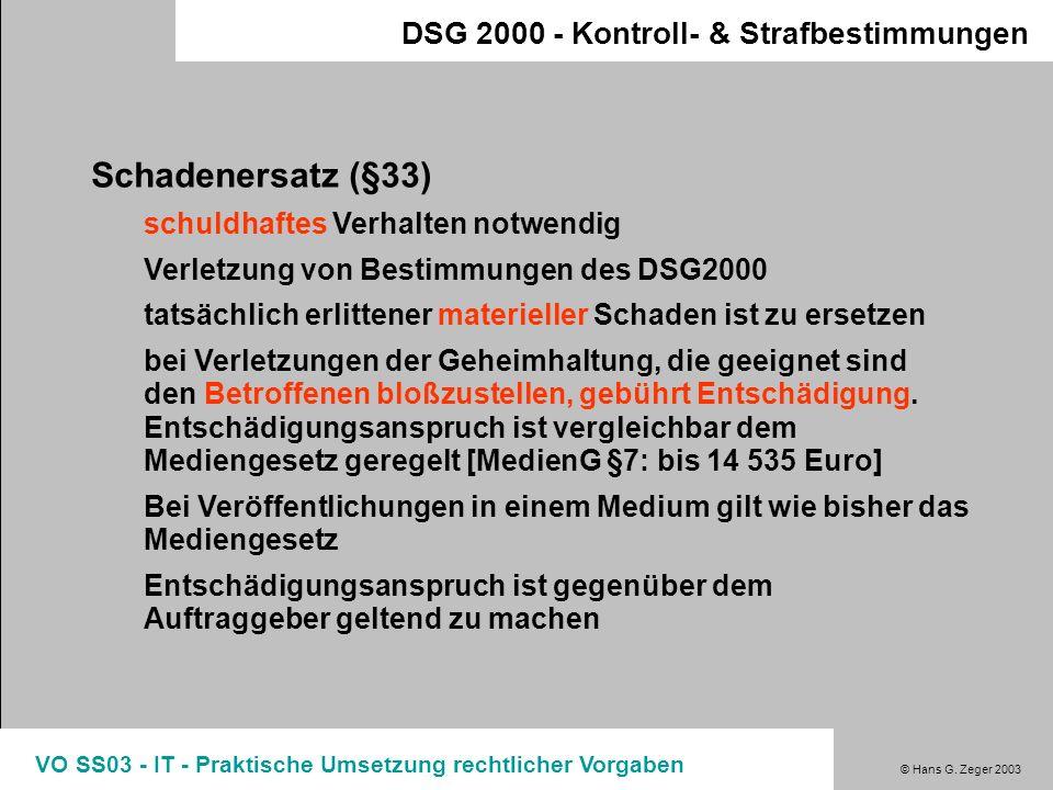 Schadenersatz (§33) DSG 2000 - Kontroll- & Strafbestimmungen