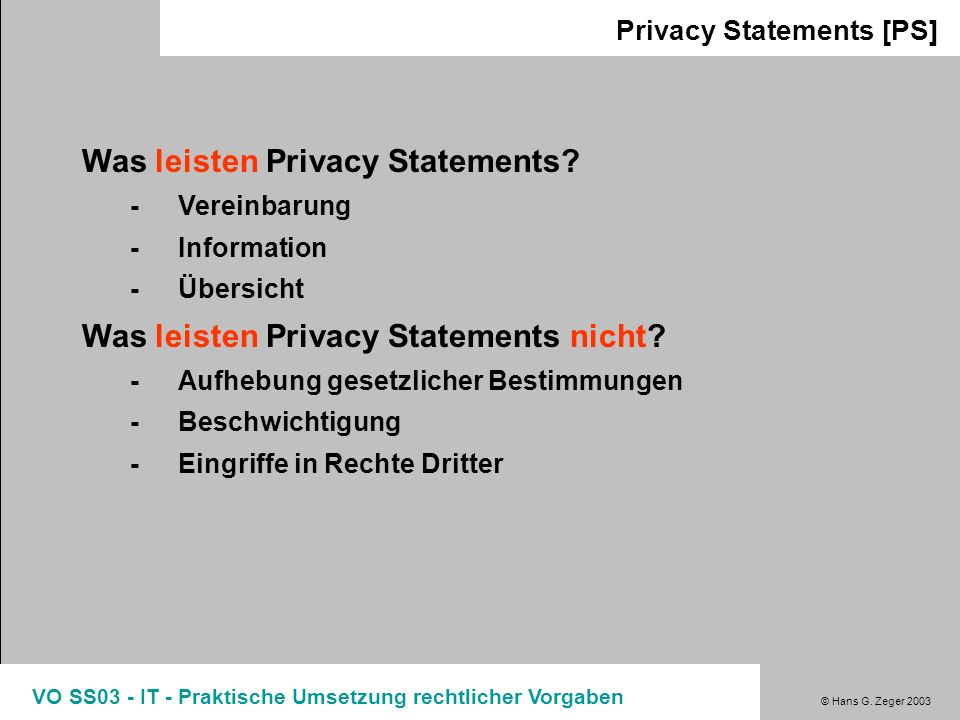 Was leisten Privacy Statements