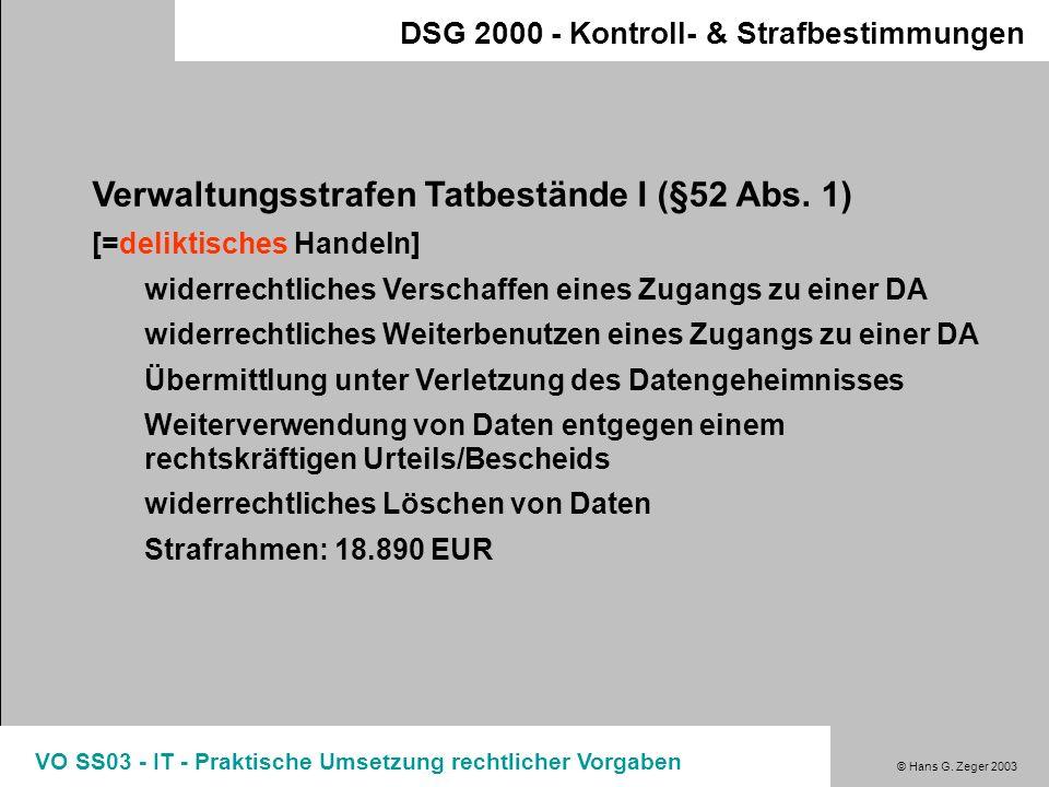 Verwaltungsstrafen Tatbestände I (§52 Abs. 1)
