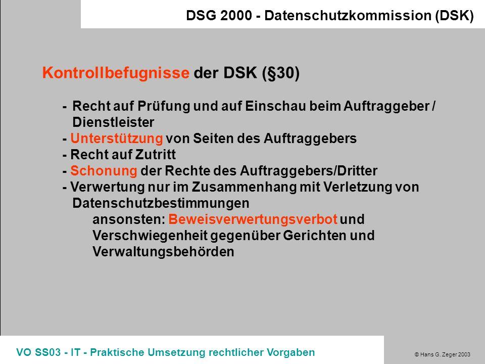 Kontrollbefugnisse der DSK (§30)