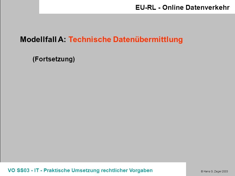 Modellfall A: Technische Datenübermittlung