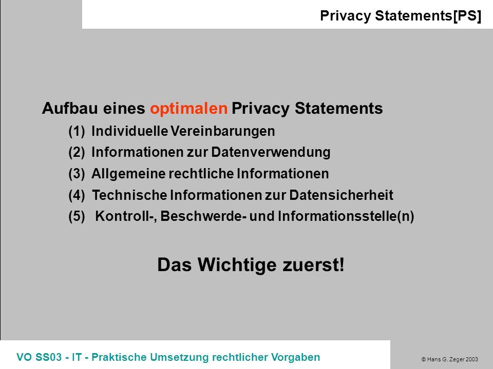 Das Wichtige zuerst! Aufbau eines optimalen Privacy Statements