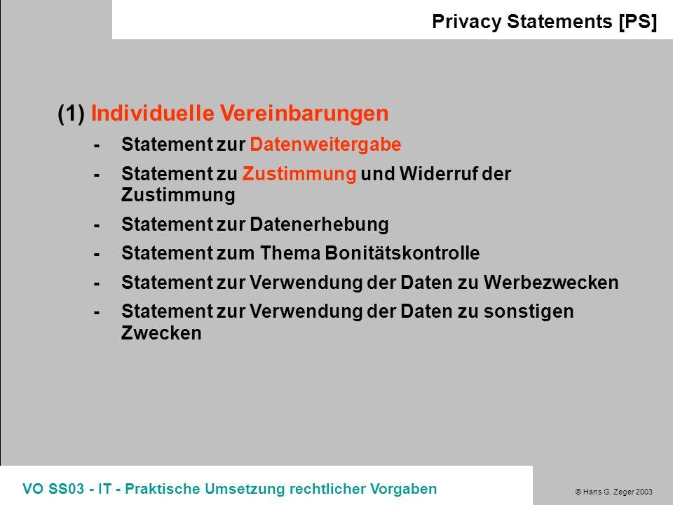 (1) Individuelle Vereinbarungen