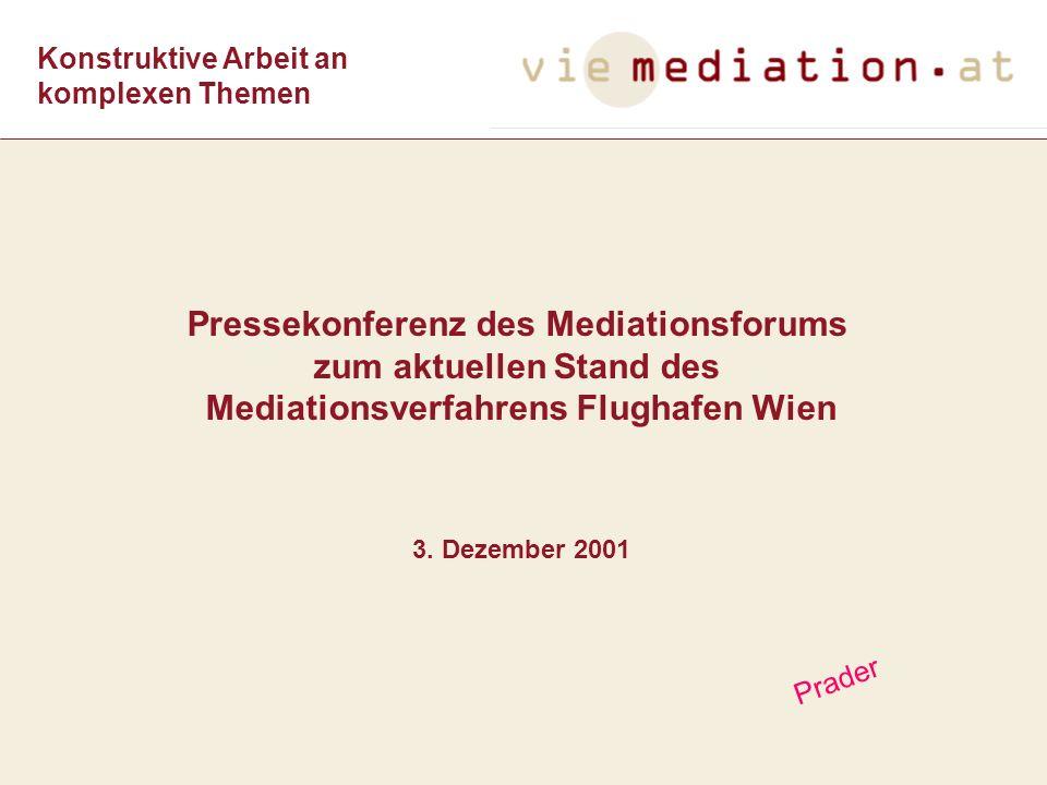 Pressekonferenz des Mediationsforums zum aktuellen Stand des