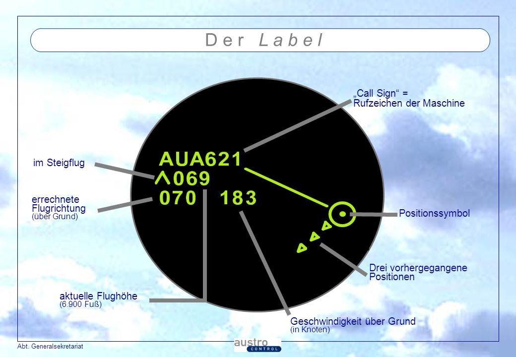 """D e r L a b e l """"Call Sign = Rufzeichen der Maschine im Steigflug"""