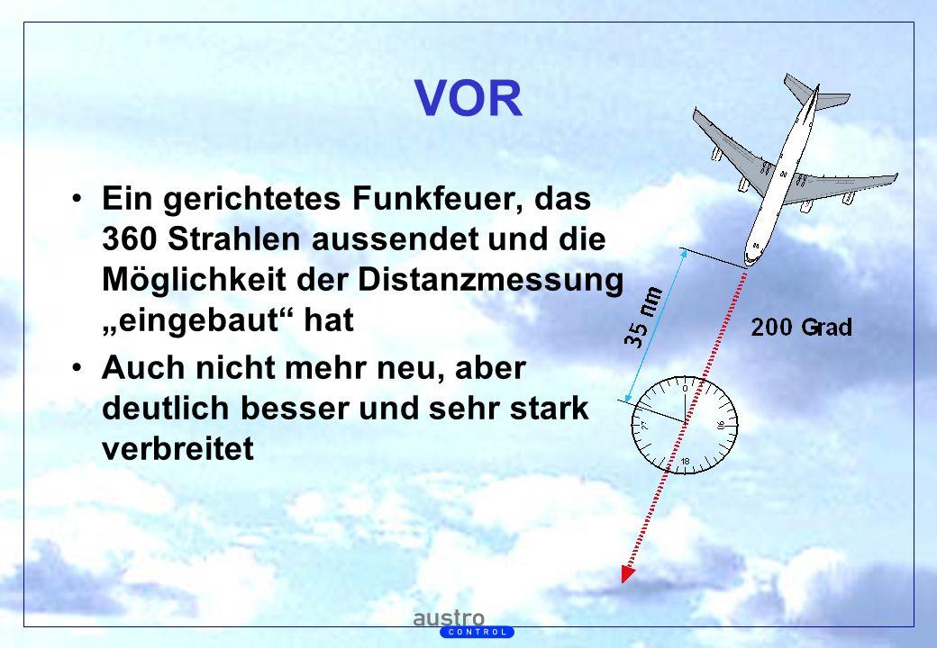 """VOR Ein gerichtetes Funkfeuer, das 360 Strahlen aussendet und die Möglichkeit der Distanzmessung """"eingebaut hat."""