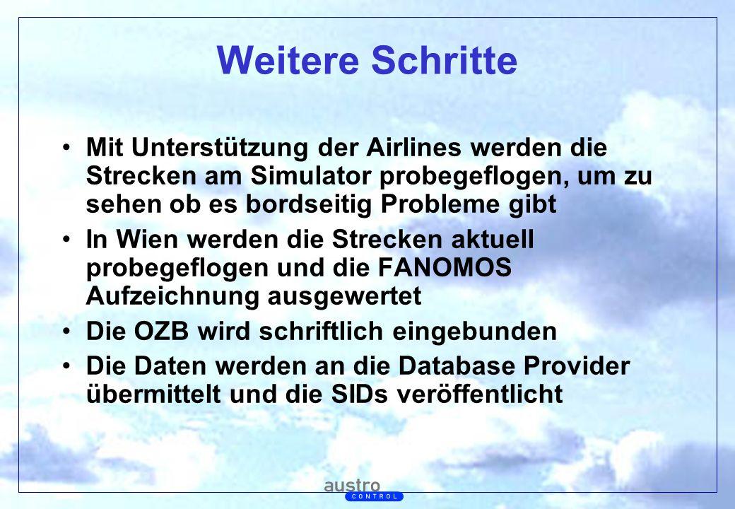 Weitere Schritte Mit Unterstützung der Airlines werden die Strecken am Simulator probegeflogen, um zu sehen ob es bordseitig Probleme gibt.