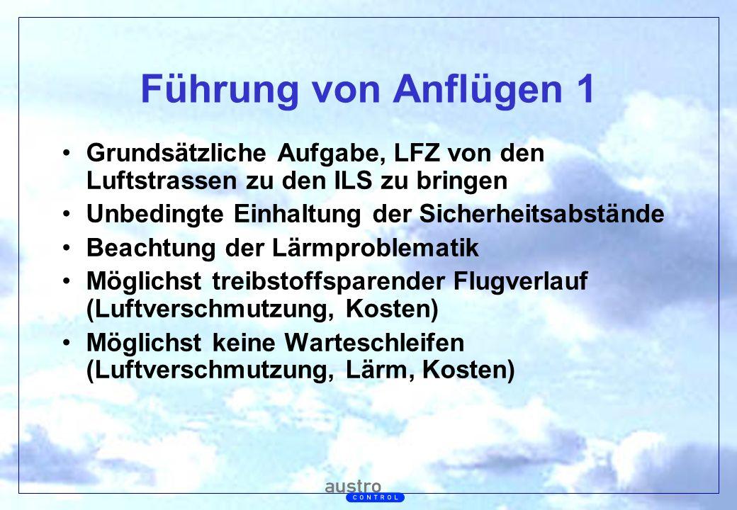 Führung von Anflügen 1 Grundsätzliche Aufgabe, LFZ von den Luftstrassen zu den ILS zu bringen. Unbedingte Einhaltung der Sicherheitsabstände.