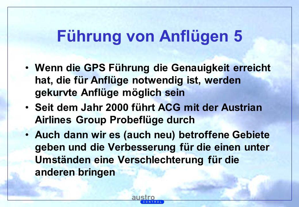 Führung von Anflügen 5 Wenn die GPS Führung die Genauigkeit erreicht hat, die für Anflüge notwendig ist, werden gekurvte Anflüge möglich sein.