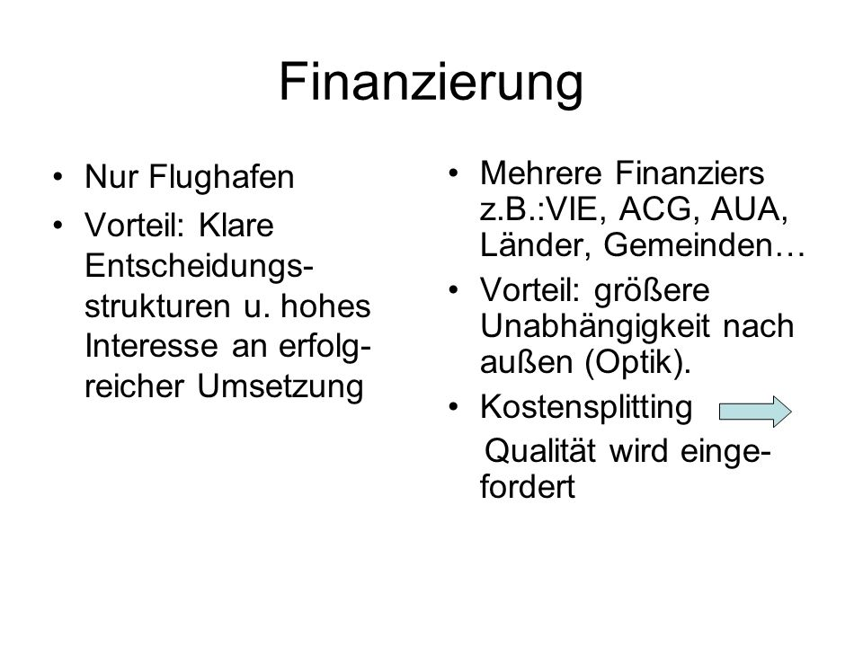 Finanzierung Nur Flughafen