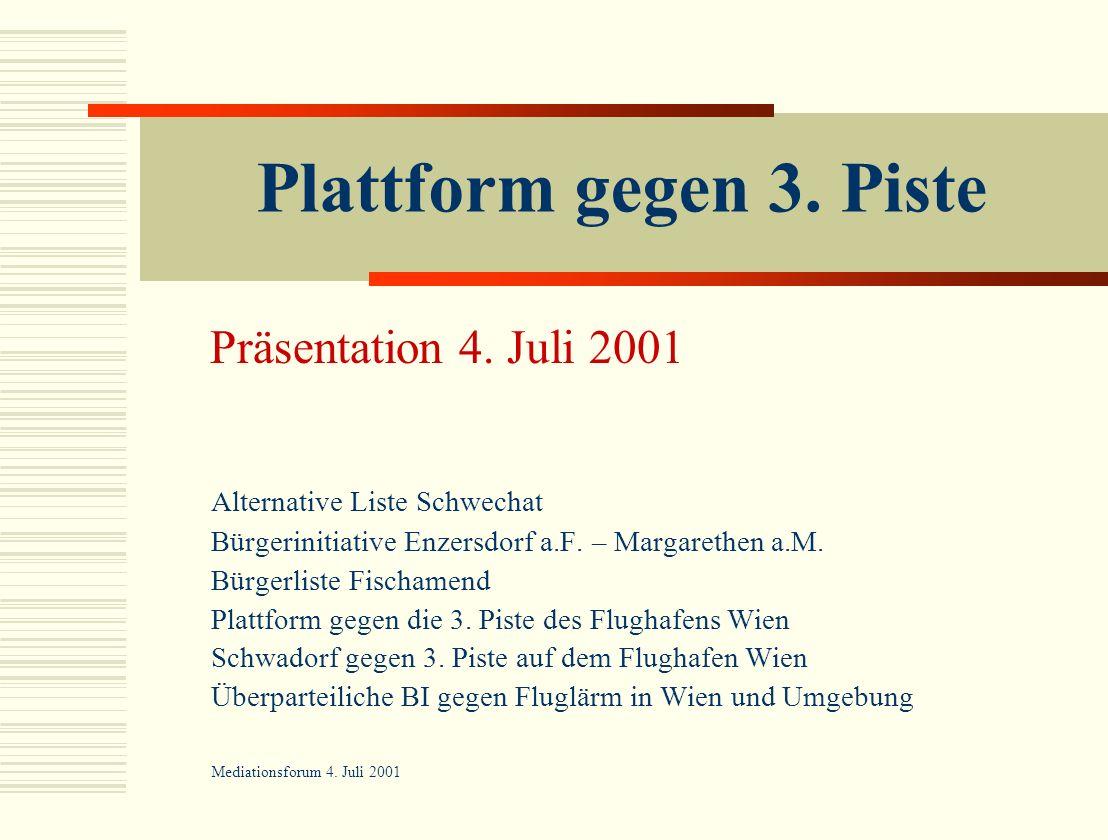 Plattform gegen 3. Piste Präsentation 4. Juli 2001