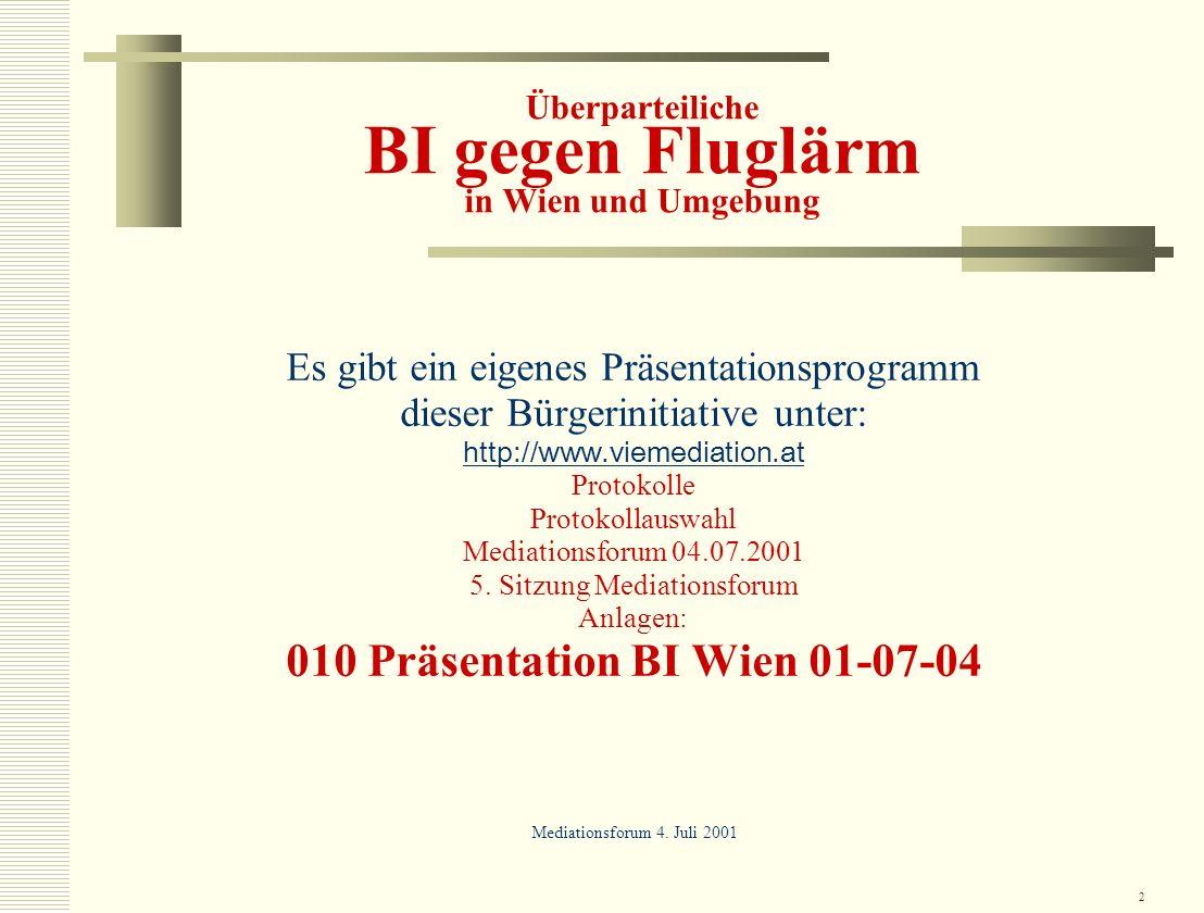Überparteiliche BI gegen Fluglärm in Wien und Umgebung