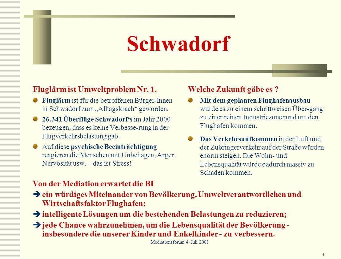 Schwadorf Fluglärm ist Umweltproblem Nr. 1. Welche Zukunft gäbe es