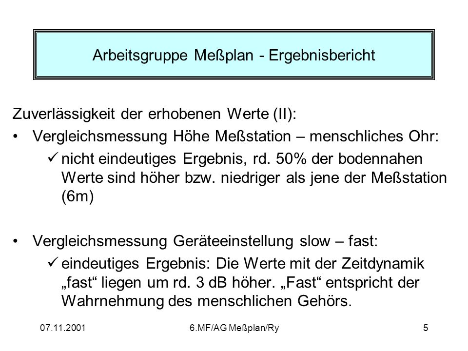 Arbeitsgruppe Meßplan - Ergebnisbericht