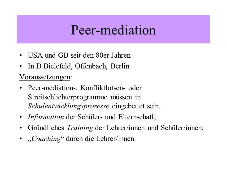 Peer-mediation USA und GB seit den 80er Jahren