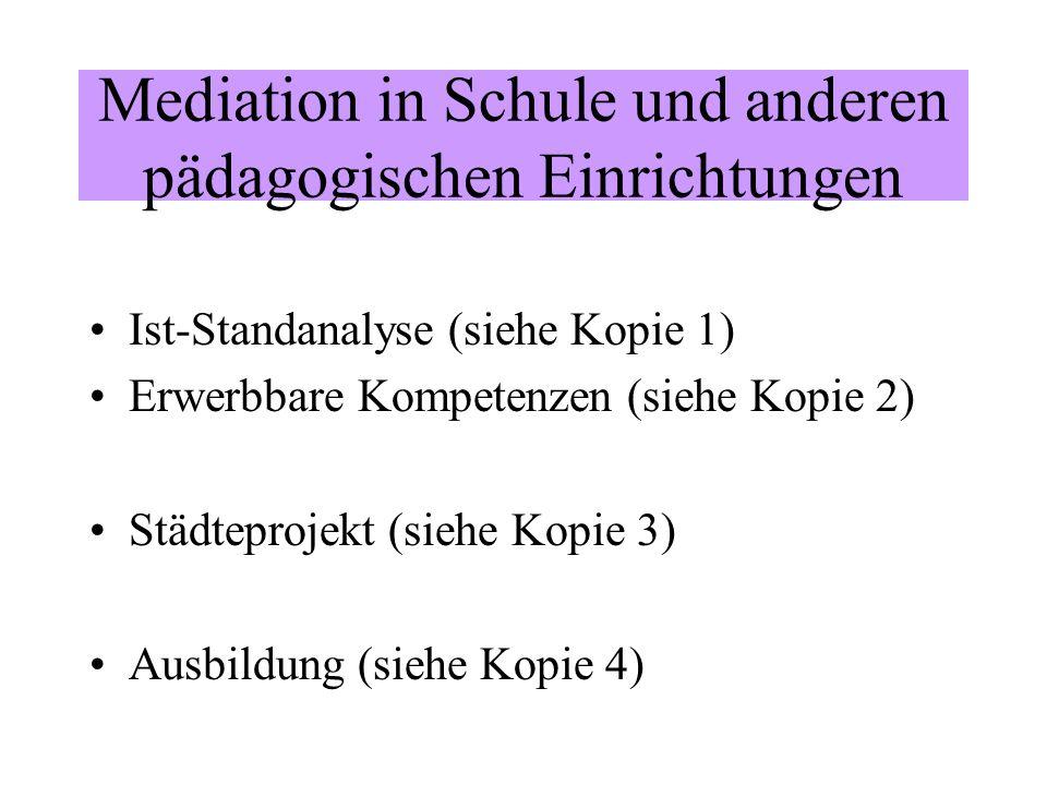 Mediation in Schule und anderen pädagogischen Einrichtungen