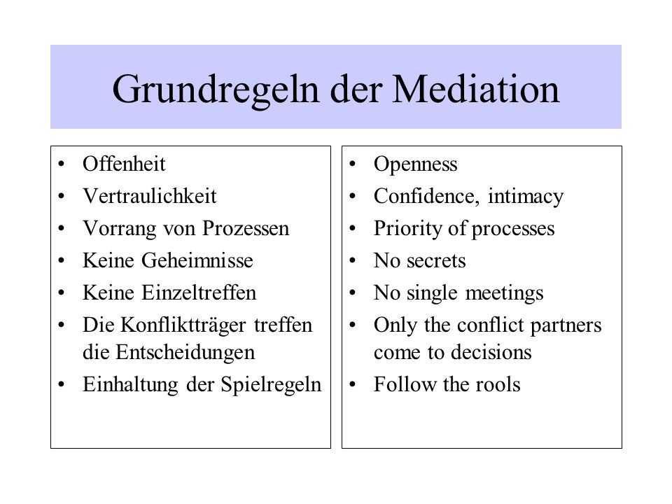 Grundregeln der Mediation