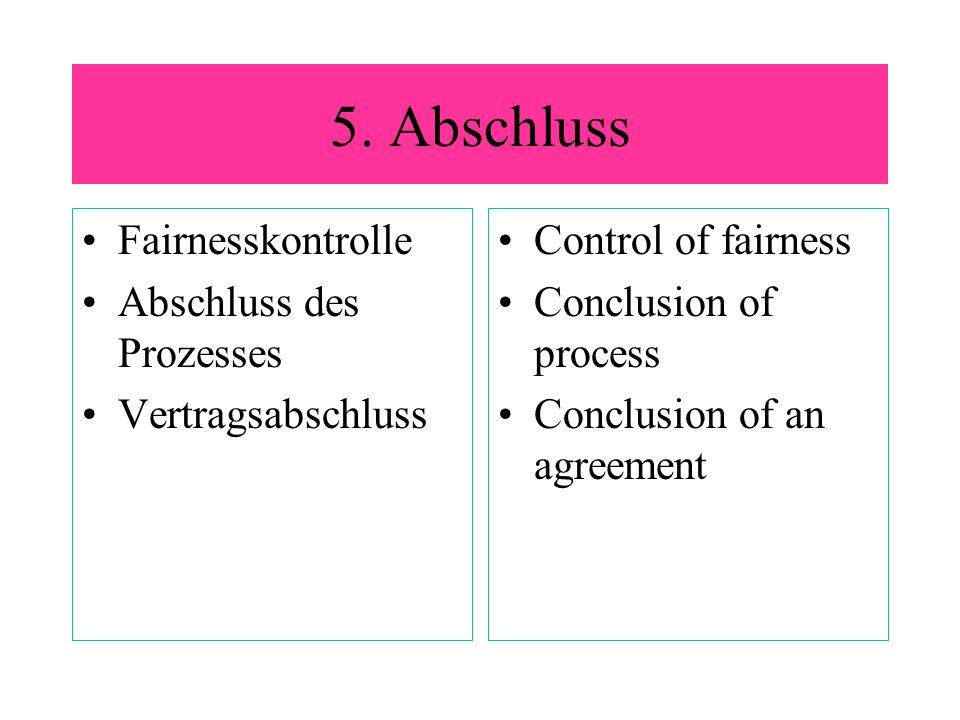 5. Abschluss Fairnesskontrolle Abschluss des Prozesses
