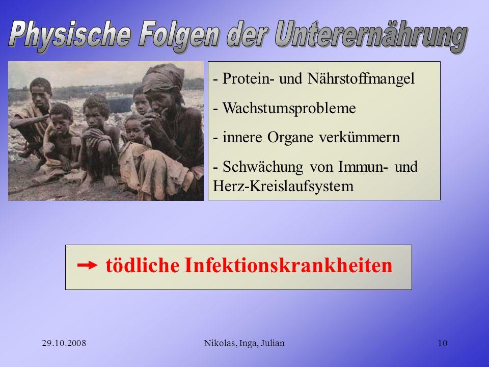 Physische Folgen der Unterernährung