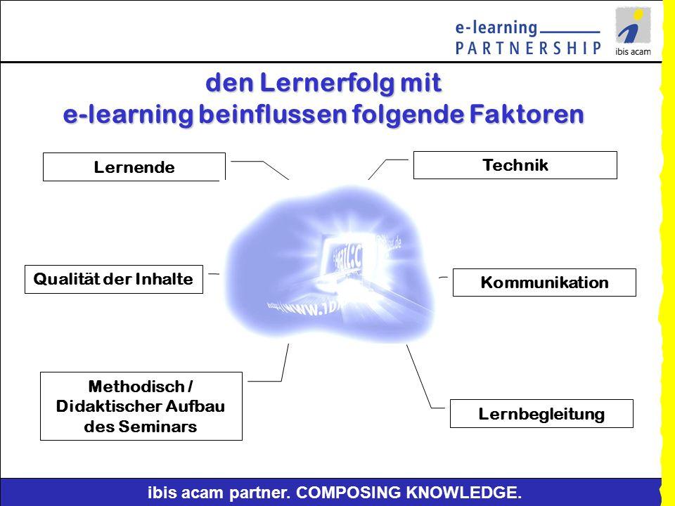 den Lernerfolg mit e-learning beinflussen folgende Faktoren