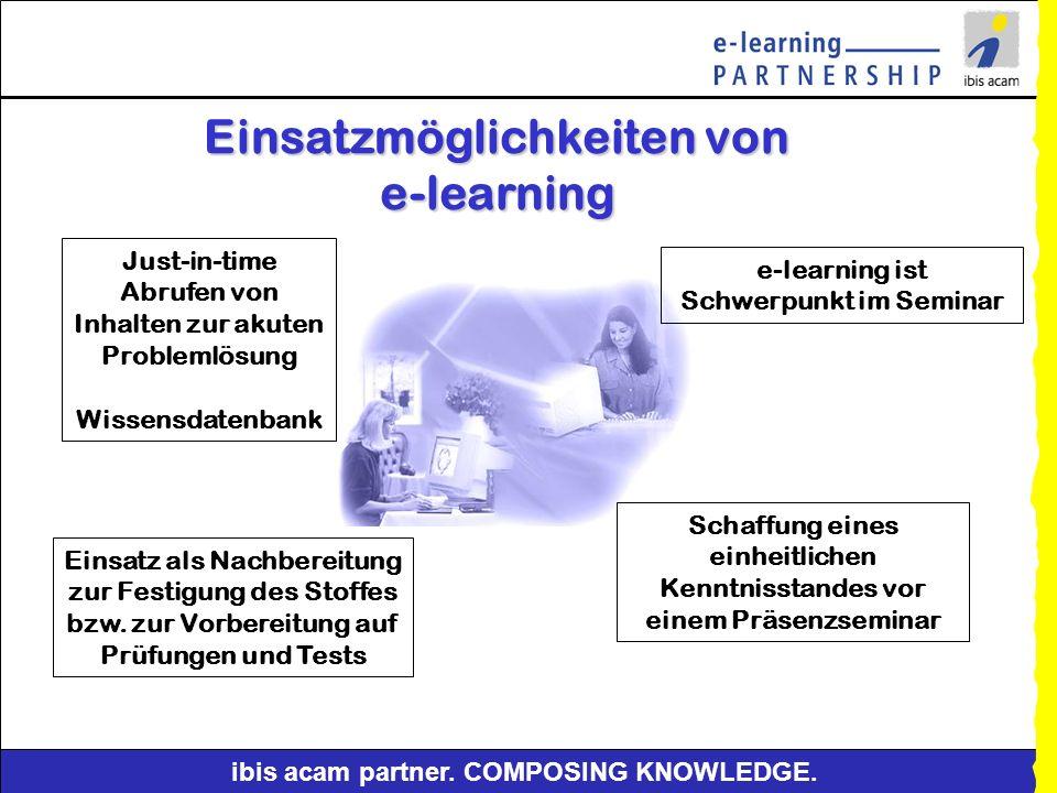 Einsatzmöglichkeiten von e-learning