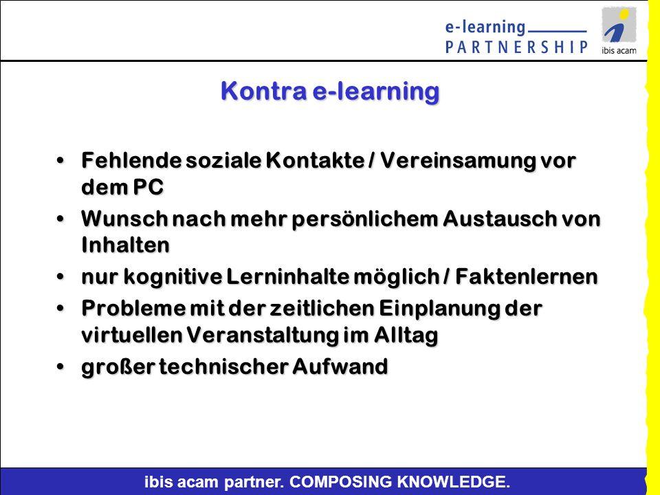 Kontra e-learning Fehlende soziale Kontakte / Vereinsamung vor dem PC