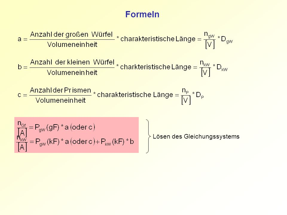 Formeln Lösen des Gleichungssystems