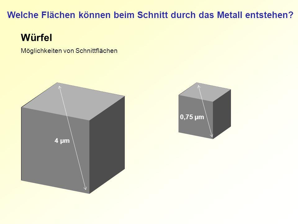 Welche Flächen können beim Schnitt durch das Metall entstehen