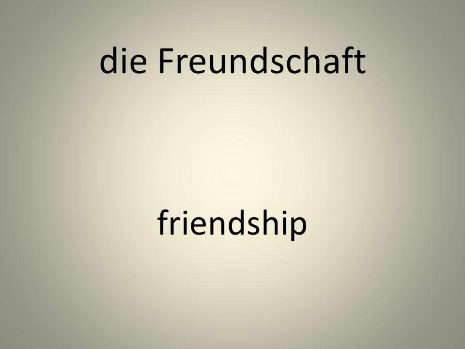 die Freundschaft friendship