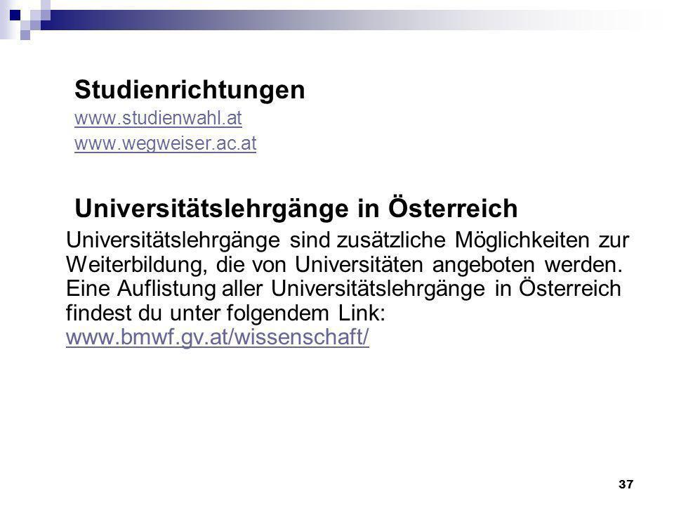 Universitätslehrgänge in Österreich