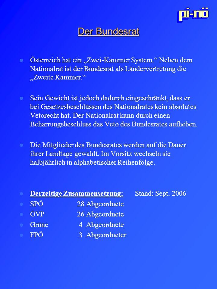 """Der Bundesrat Österreich hat ein """"Zwei-Kammer System. Neben dem Nationalrat ist der Bundesrat als Ländervertretung die """"Zweite Kammer."""