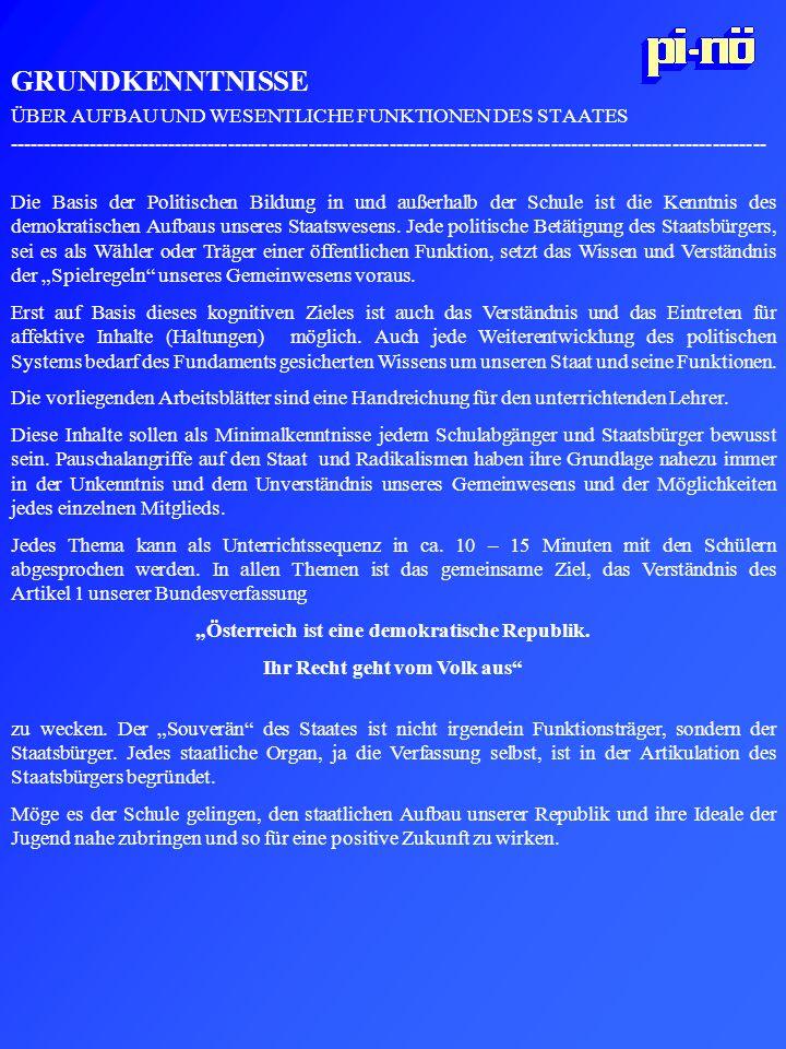GRUNDKENNTNISSE ÜBER AUFBAU UND WESENTLICHE FUNKTIONEN DES STAATES