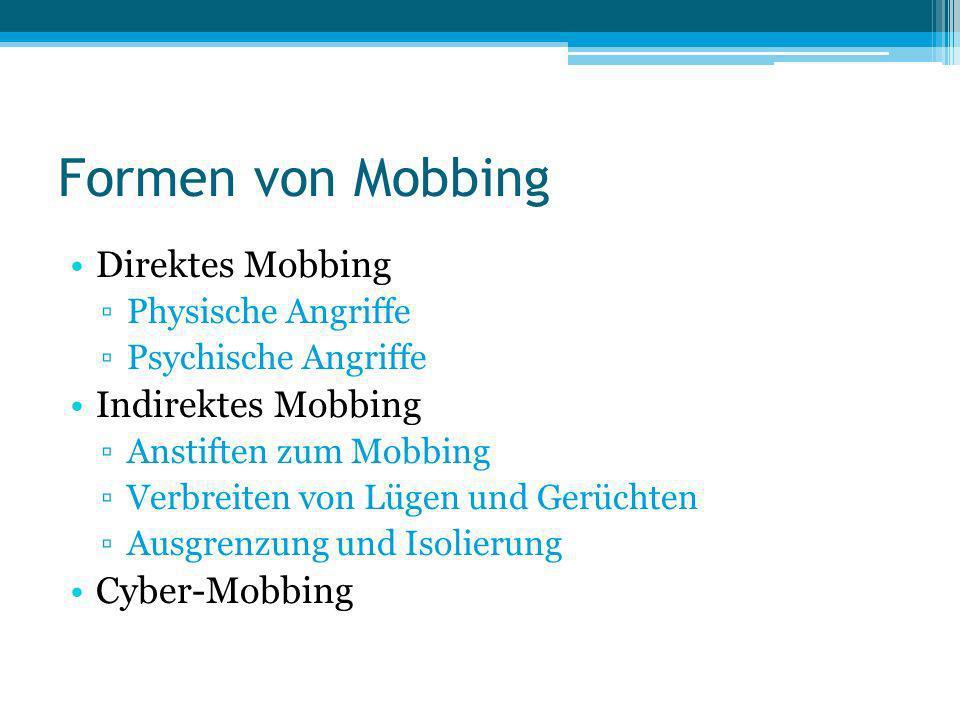 Formen von Mobbing Direktes Mobbing Indirektes Mobbing Cyber-Mobbing