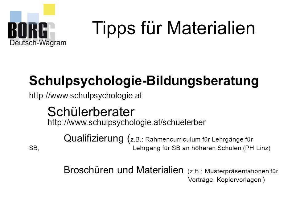 Tipps für Materialien Schulpsychologie-Bildungsberatung Schülerberater