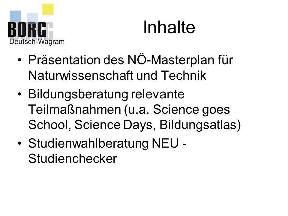 Inhalte Präsentation des NÖ-Masterplan für Naturwissenschaft und Technik.