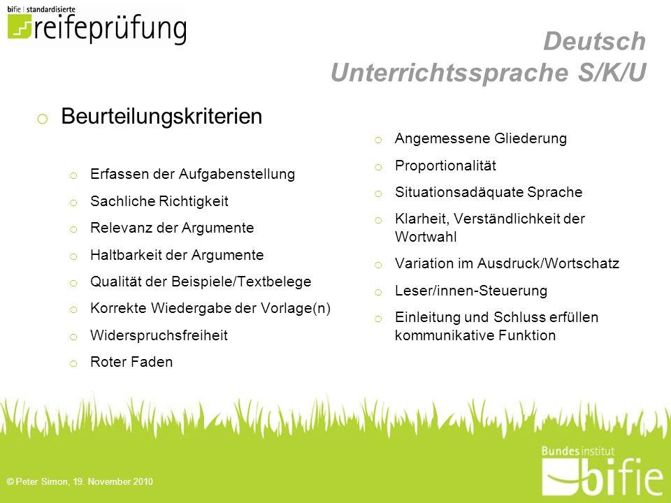 Deutsch Unterrichtssprache S/K/U