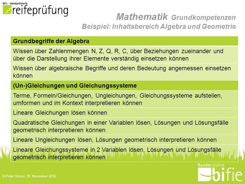 Mathematik Grundkompetenzen Beispiel: Inhaltsbereich Algebra und Geometrie