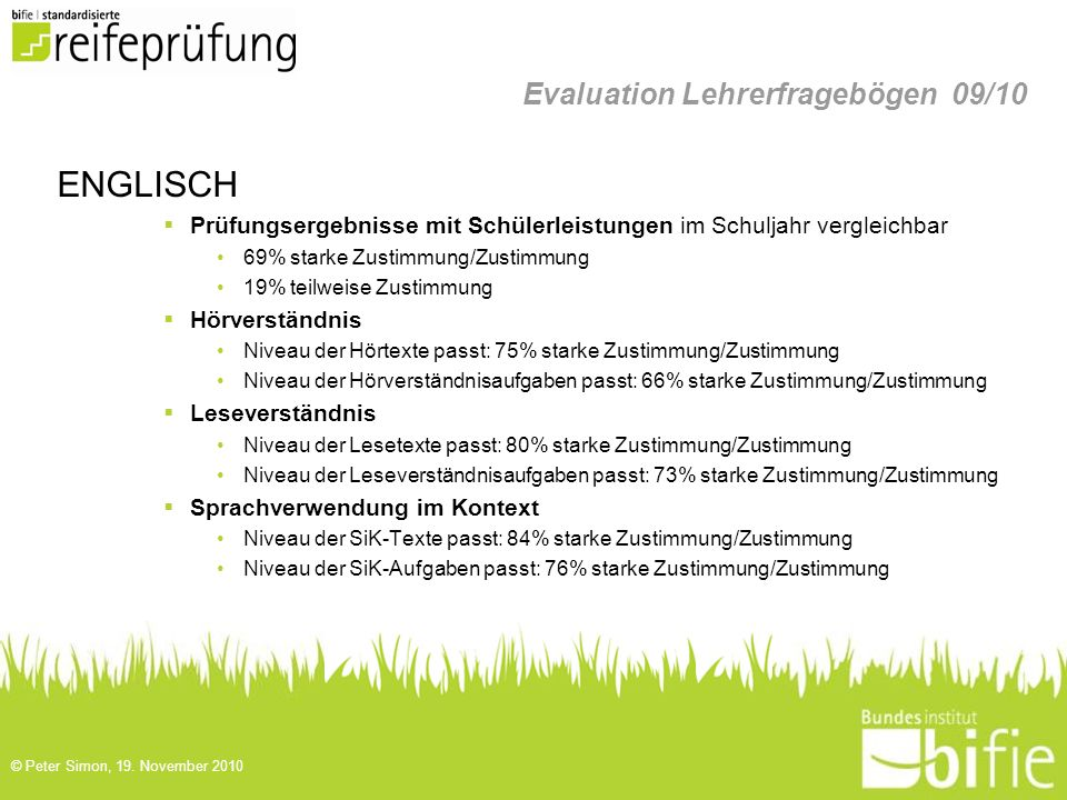 Evaluation Lehrerfragebögen 09/10